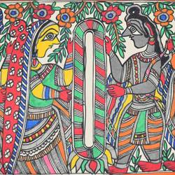 Madhubani Painting - Marriage-Ceremony-of-Shri-Ramji-and-Sitaji size - 15x11In - 15x11