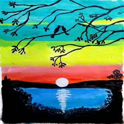 THE LAKE AND THE BIRDS size - 12x16In - 12x16