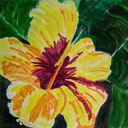THE YELLOW FLOWER AND GREEN LEAVES size - 16x12In - 16x12