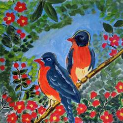 THE BIRDS AND THE FLOWERS size - 15x14In - 15x14
