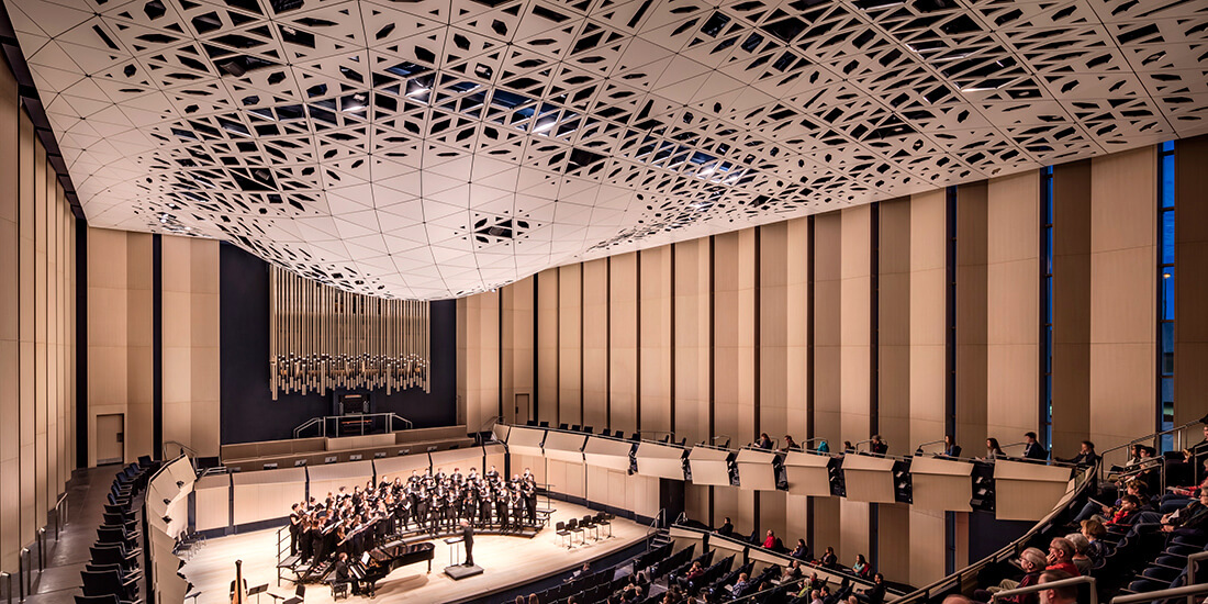 the acoustic ceiling in the University of Iowa's Voxman School of Music concert hall, which was designed via generative design.