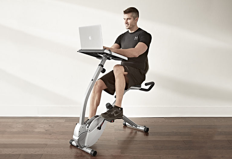 Work While Working Out with the Laptop Workout Desk and Recumbent Bike