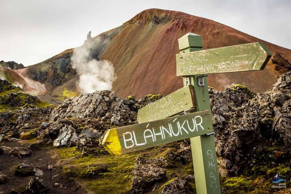Road sing in Landmannalaugar hiking trail in Iceland