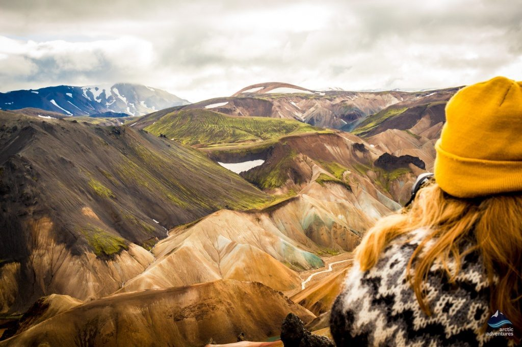 Looking over Landmannalaugar mountains Iceland on a day tour with Arctic Adventures