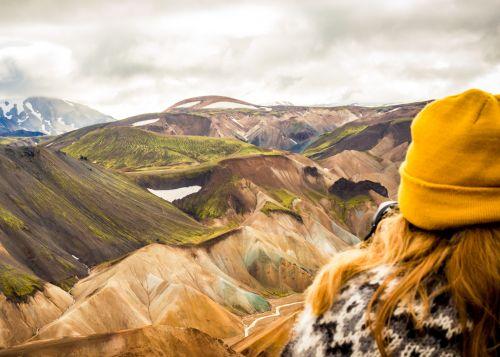 Looking over Landmannalaugar mountains Iceland