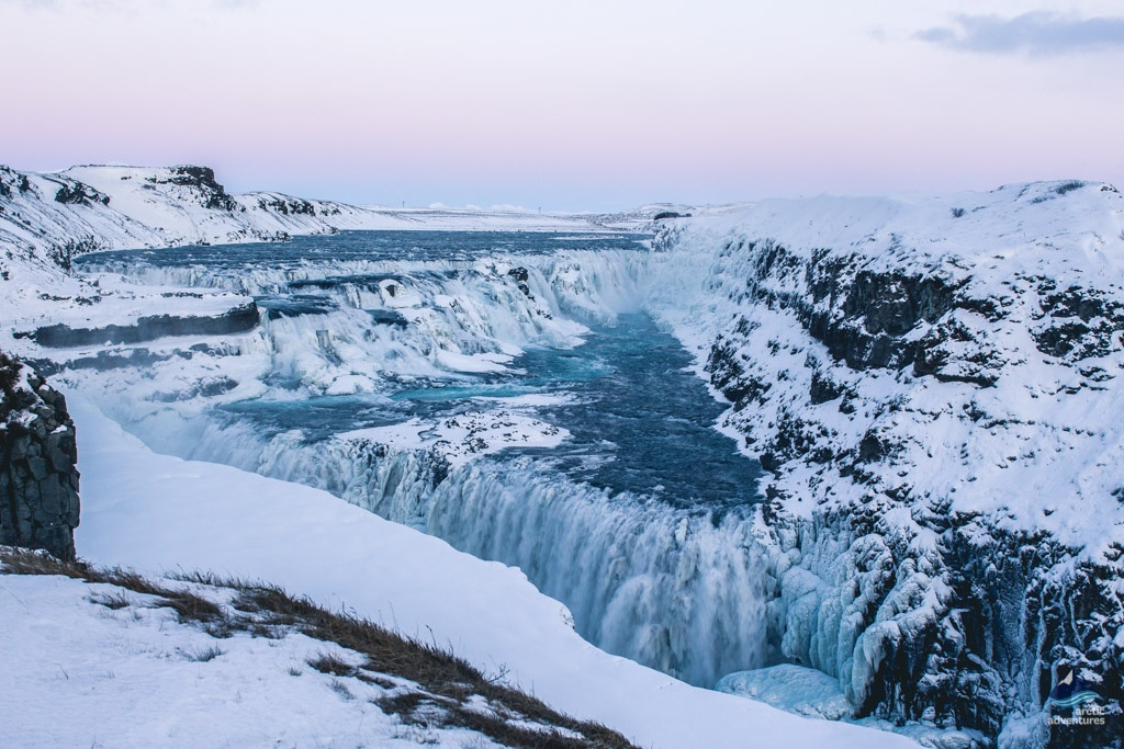 Overview of Gullfoss waterfall in Iceland