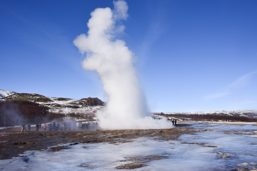Strokkur erupting in Geyser Area in Iceland