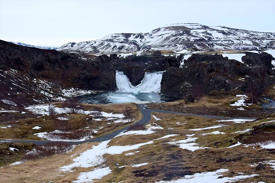 Waterfall on Game of Thrones tour in Iceland