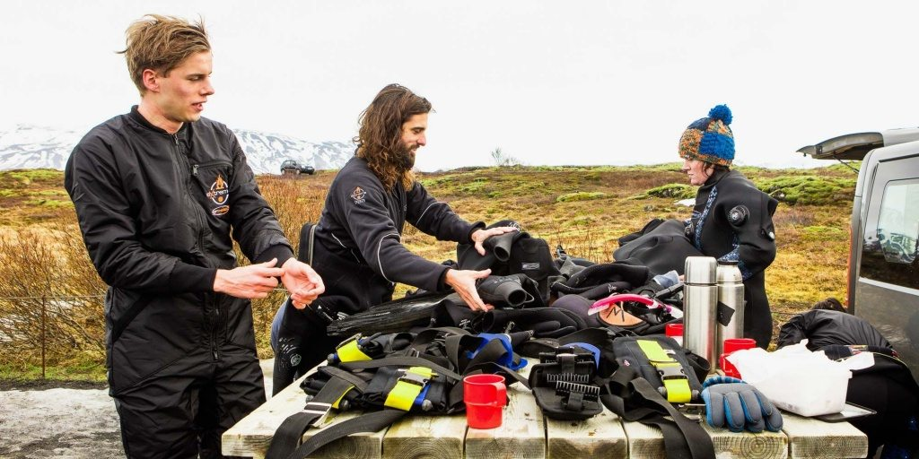 Getting dressed for snorkeling in Iceland