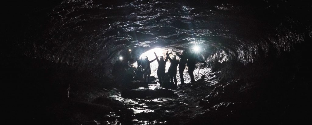 Lava caving tour Iceland