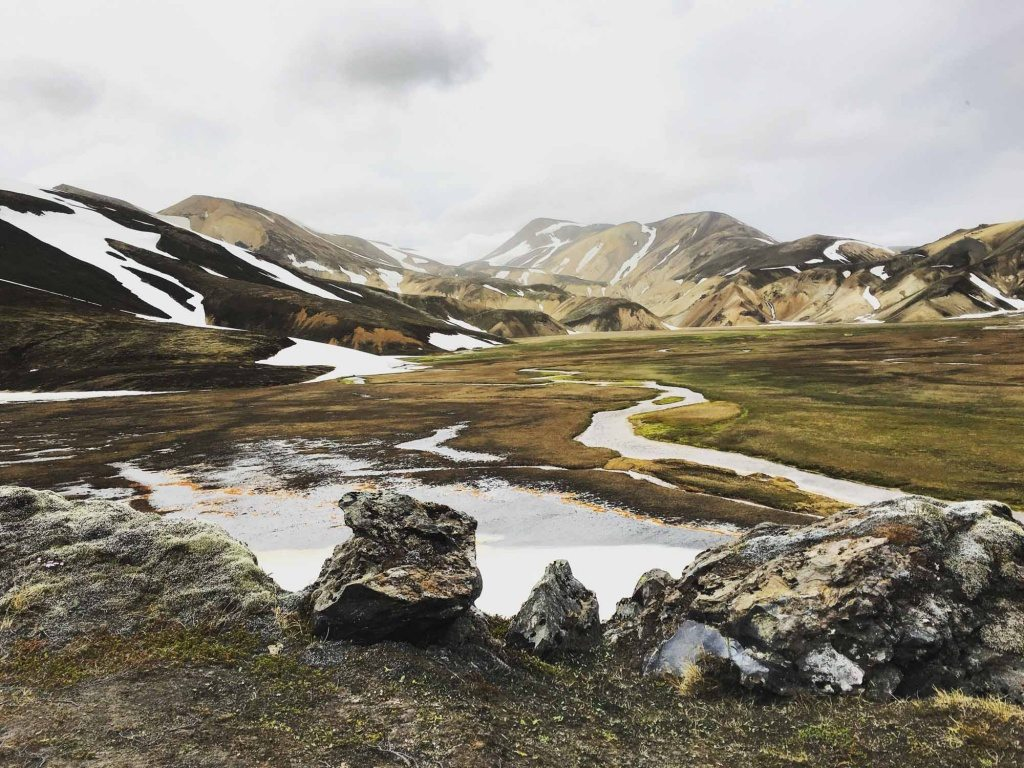 Landmannalaugar Iceland in the Highlands of Iceland, Fjallabak Nature Reserve ona tour with arctic adventures