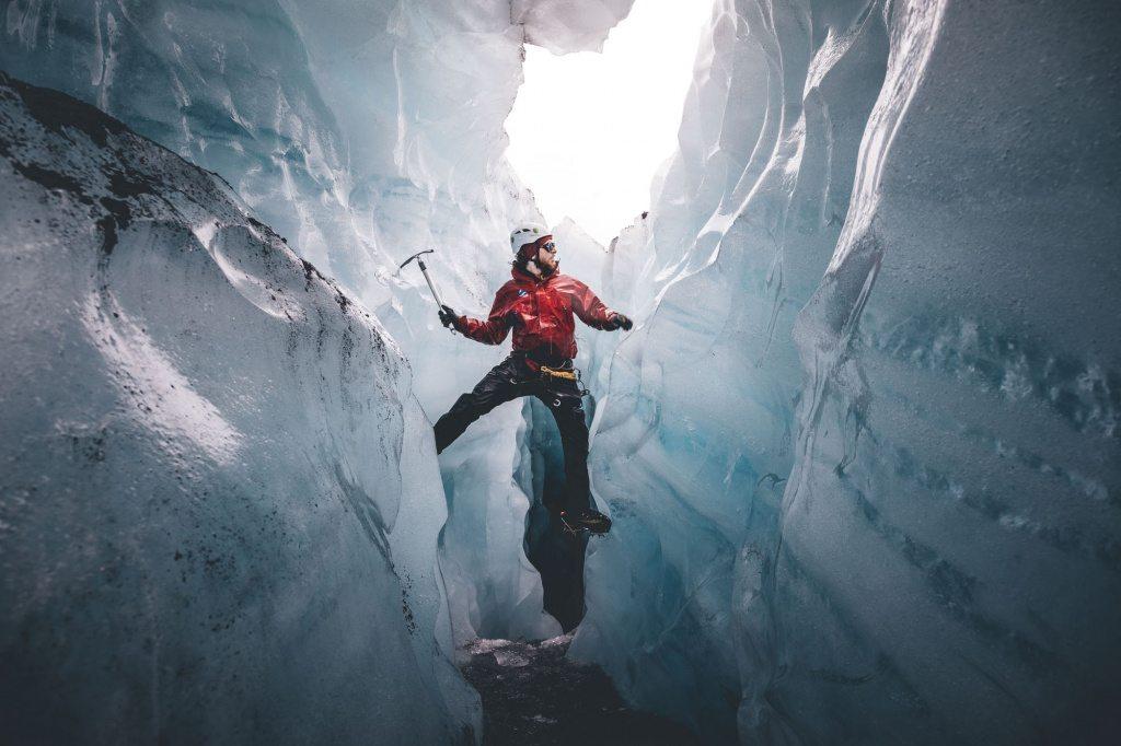 exploring solheimajokull glacier in iceland