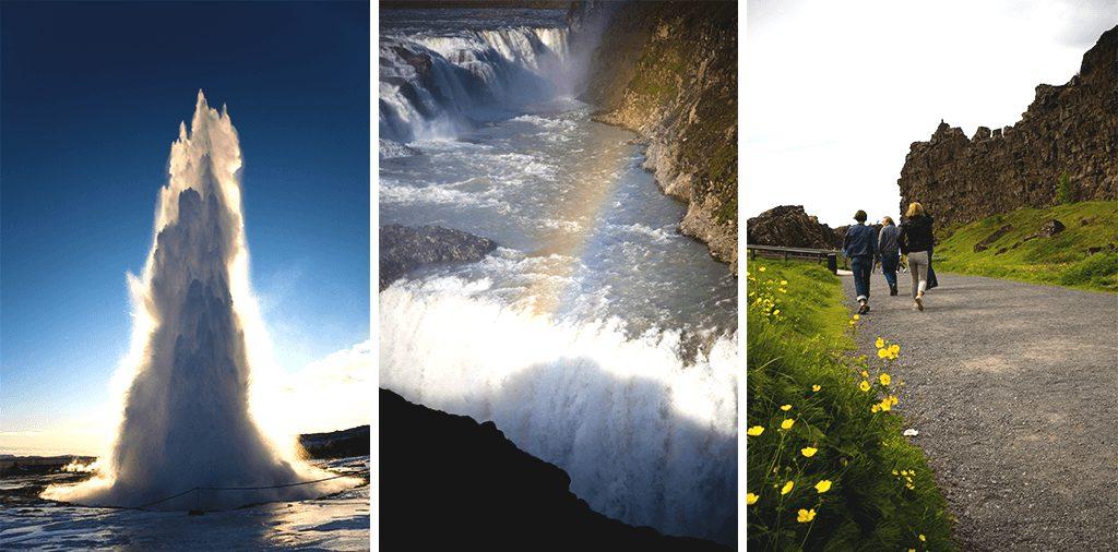 golden circle, geyser, gullfoss waterfall and thingvellir national park