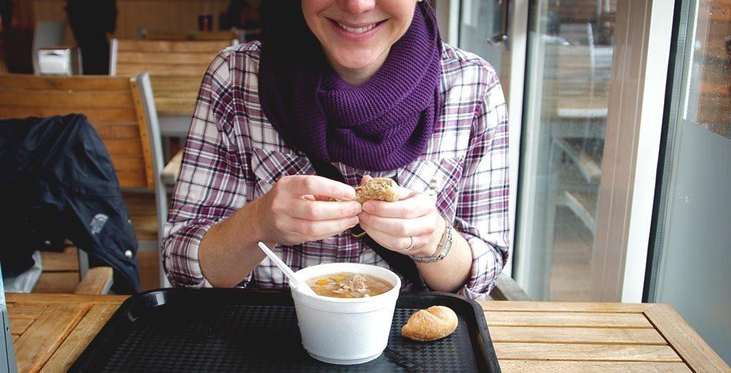Eating soup at geysir iceland