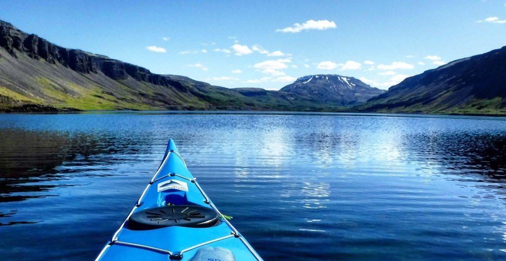 Kayak floating in Hvalfjordur,Iceland