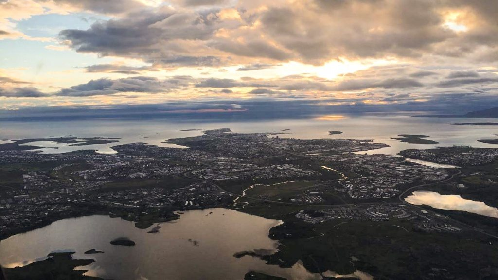 Reykjavik from above in midnight sun