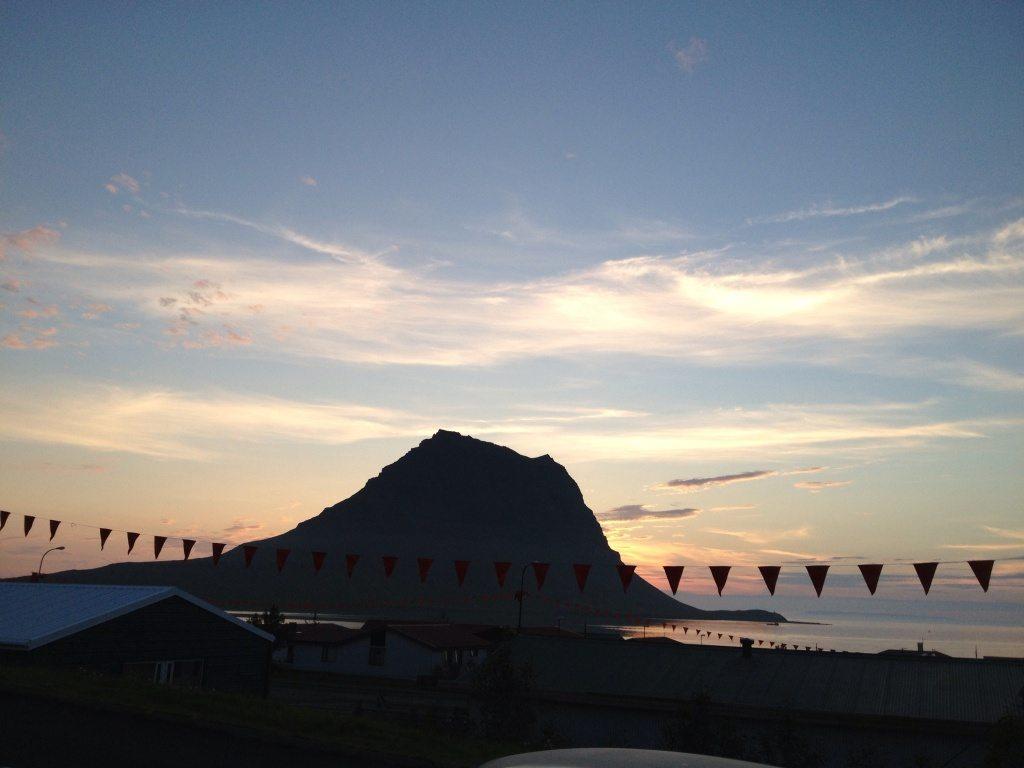 Midnight sun behind mt. Kirkjufell iceland