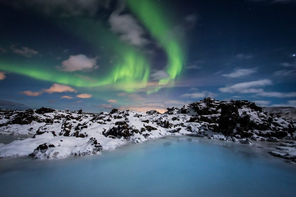 Northern Lights above the Blue Lagoon