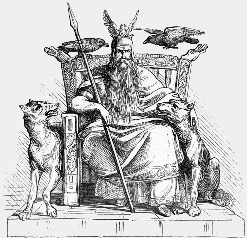 odinn with his ravens huginn and muninn