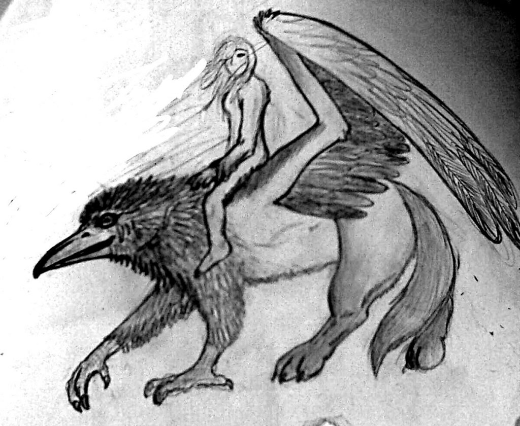 old drawing of girl riding a raven