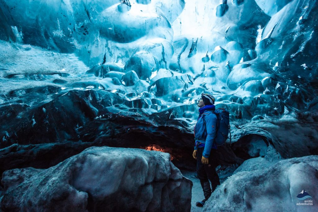 Person inside Ice Cave Iceland
