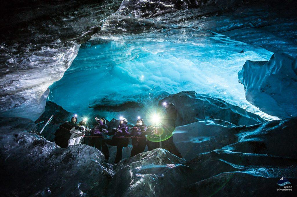 Inside an Ice Cave in Vatnajokull glacier Iceland