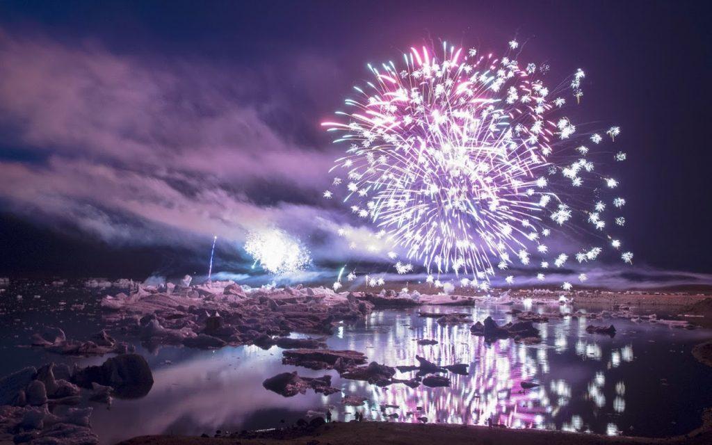 Fireworks above Jokulsarlon Glacier Lagoon