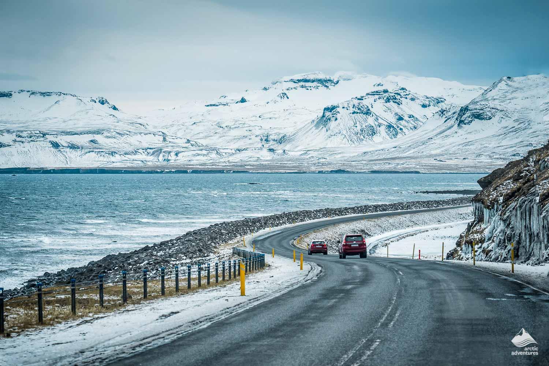 Icelandic road in winter