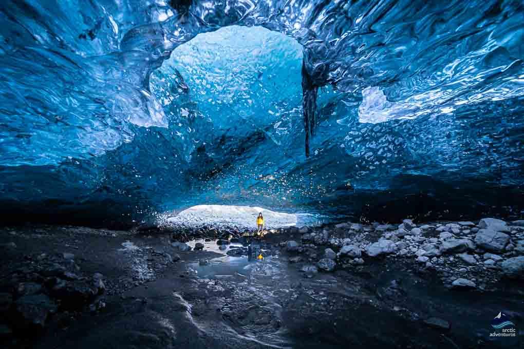 Crystal ice cave on Vatnajökull glacer