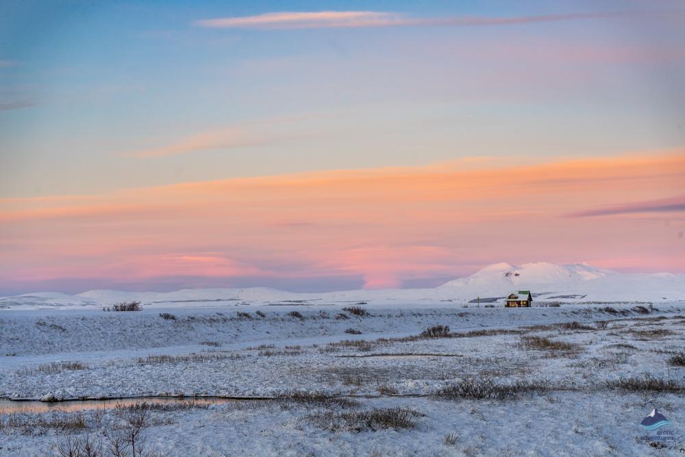 Wintry Icelandic landscape in December