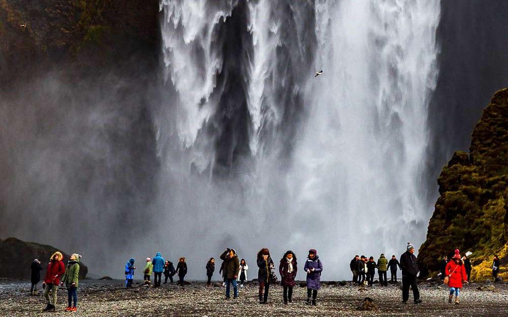 Crowds at Skogafoss waterfall