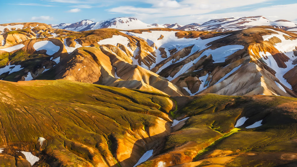 Colorful mountains on Laugavegur trail in Iceland