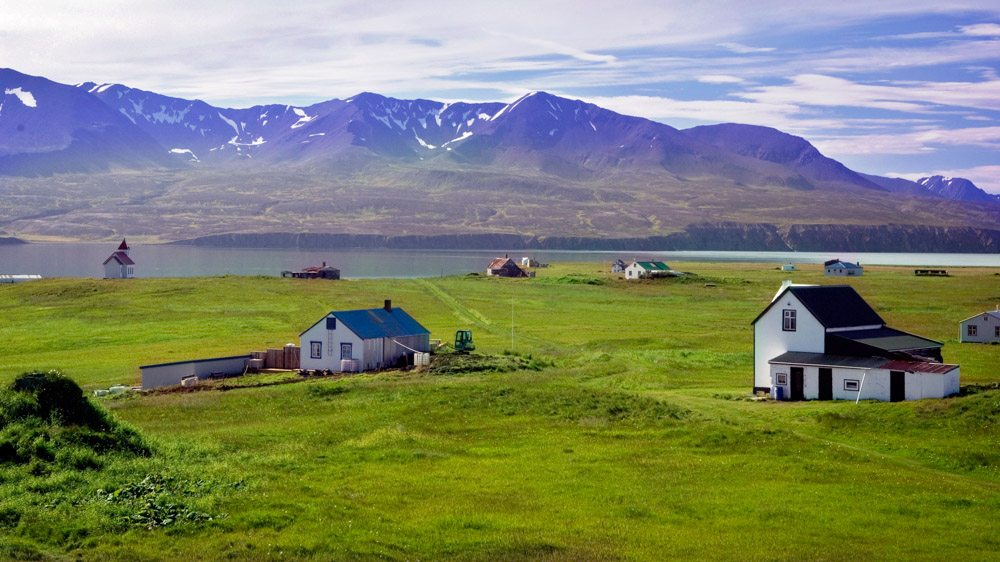 Flatey Island on Shaky bay, off the coast of Iceland near Húsavík