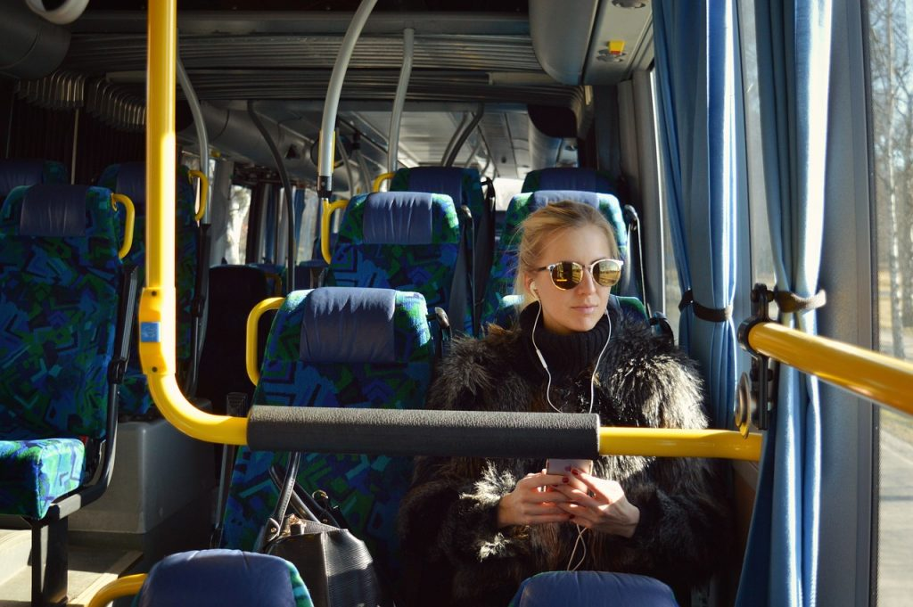 Iceland Public Transport. Girl on a bus