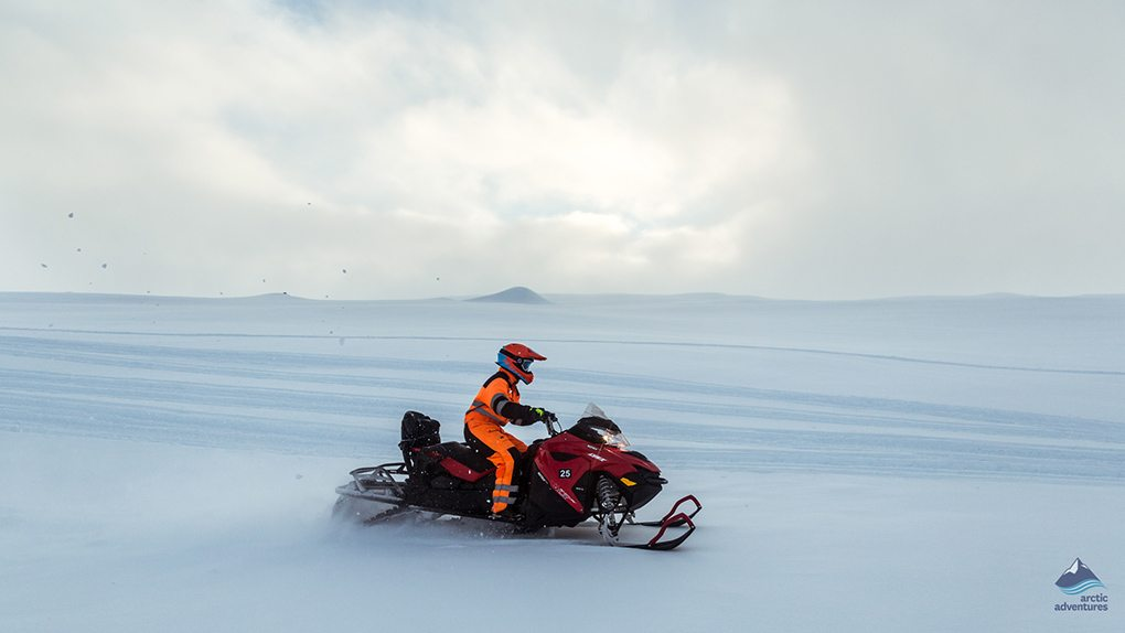 snowmobiling on a glacier in Iceland