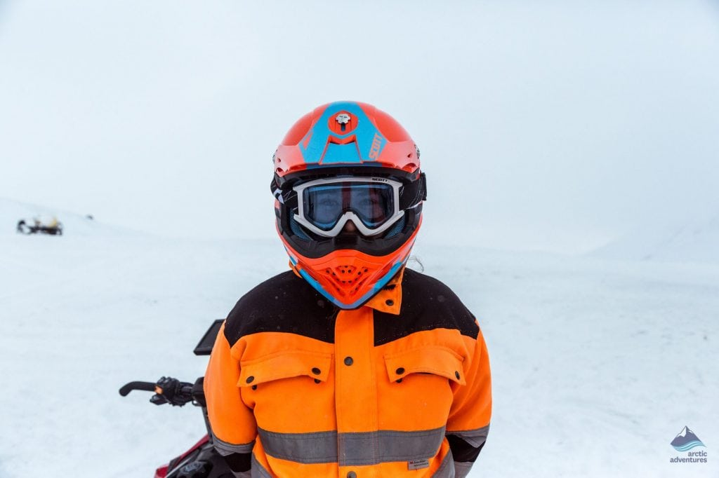 Snowmobiling across a glacier in Iceland