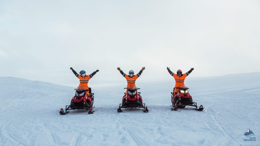 snowmobiling in Iceland on a glacier