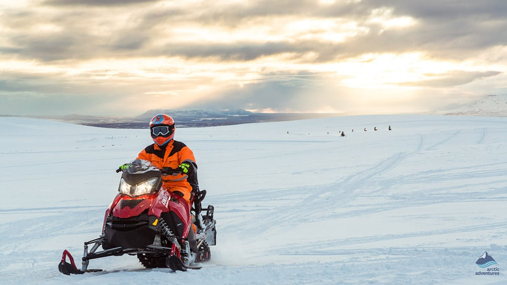snowmobiling across Iceland's second largest glacier