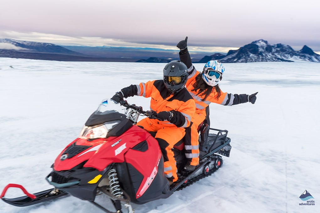 BFF on Iceland's glacier snowmobiling tour