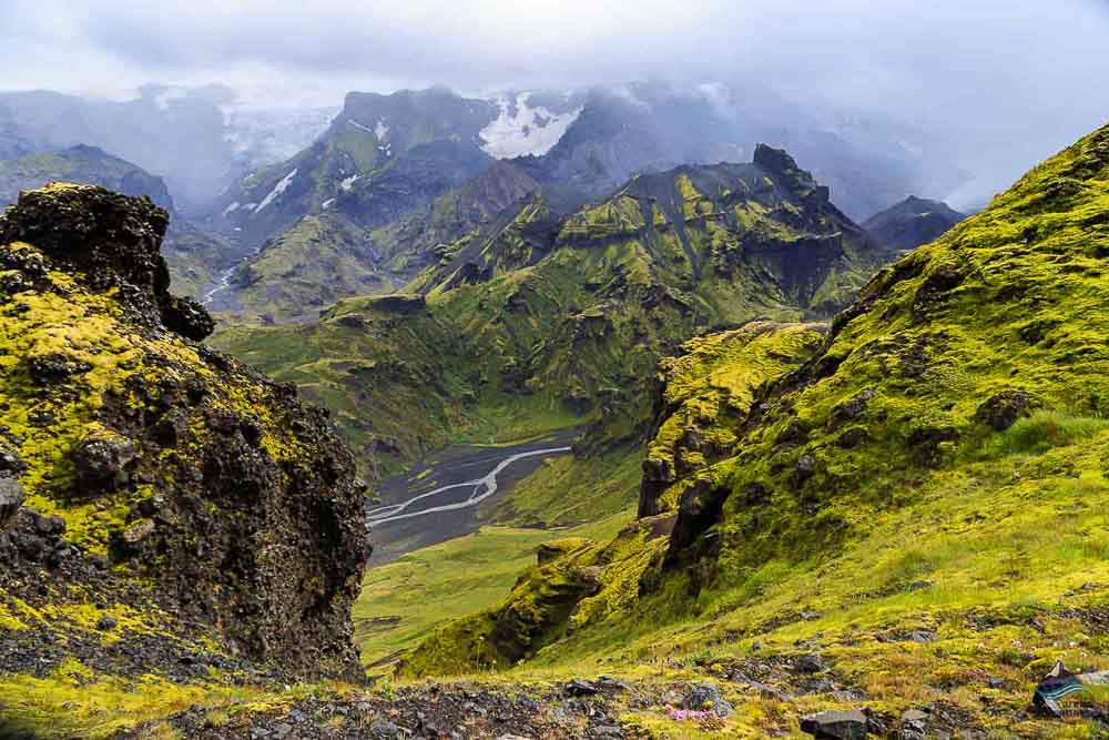 Spectacular view from the Fimmvörduhals trail in Iceland