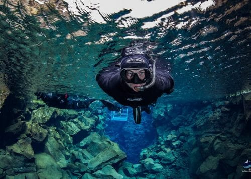Person snorkeling in Silfra Fissure