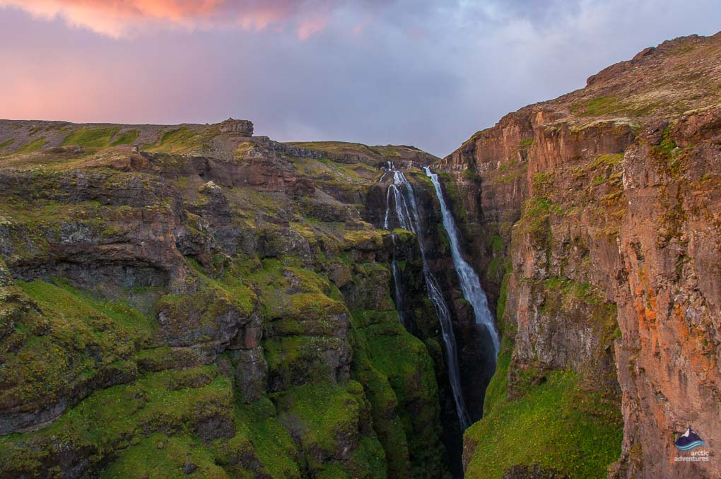 Hiking to Glymur the second highest waterfall of Iceland