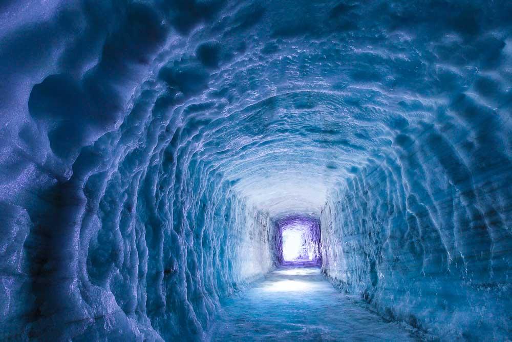 Ice tunnel inside Langjokull glacier