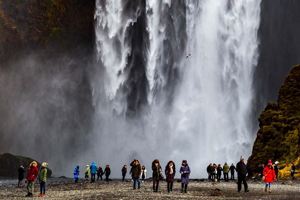 People at Skogafoss waterfall
