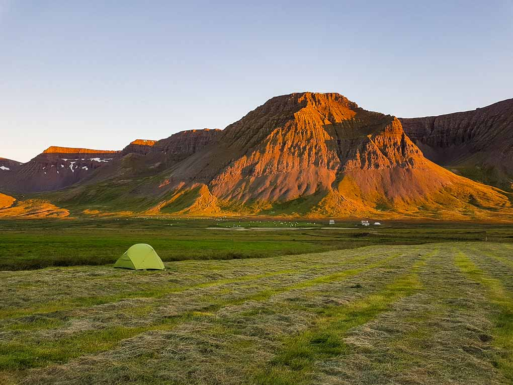 campsite on a remote farm in the Wesfjorfds