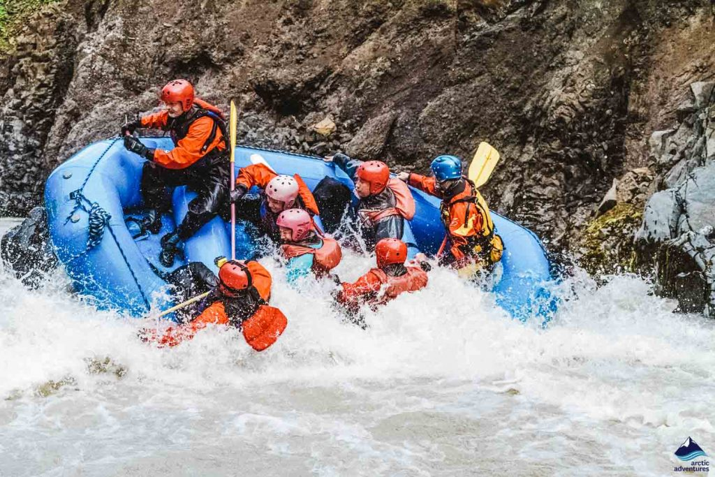 Whitewater rafting in Iceland in East glacial river