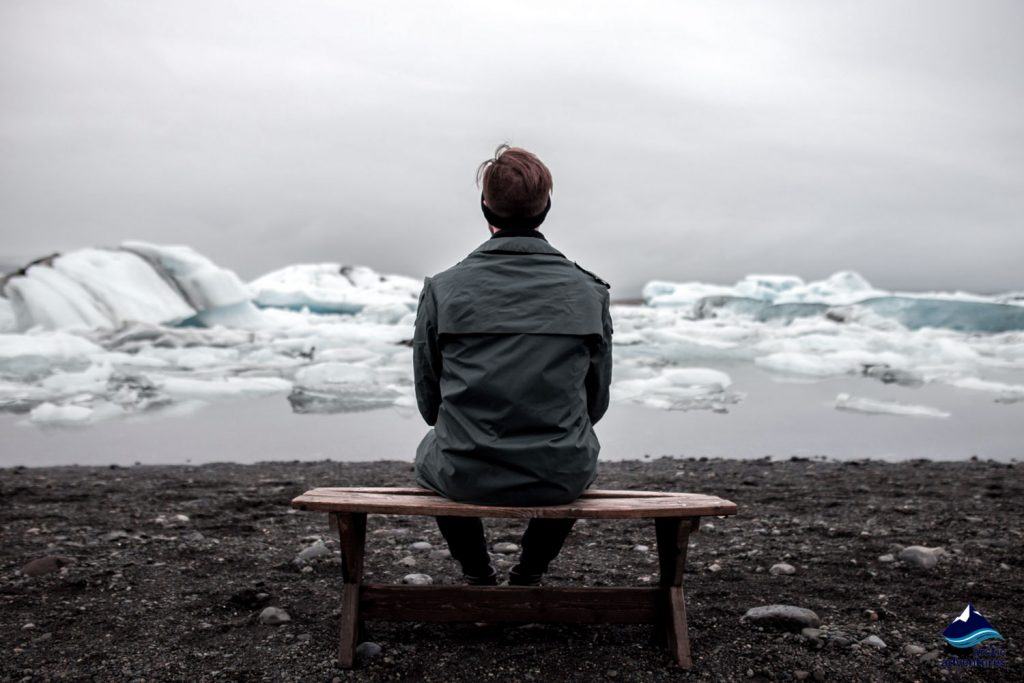 Man sitting in Vatnajokull National Park