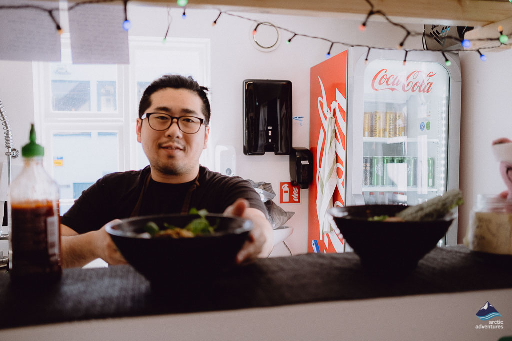 The owner of Hi Noodle Reykjavik makes soup in house