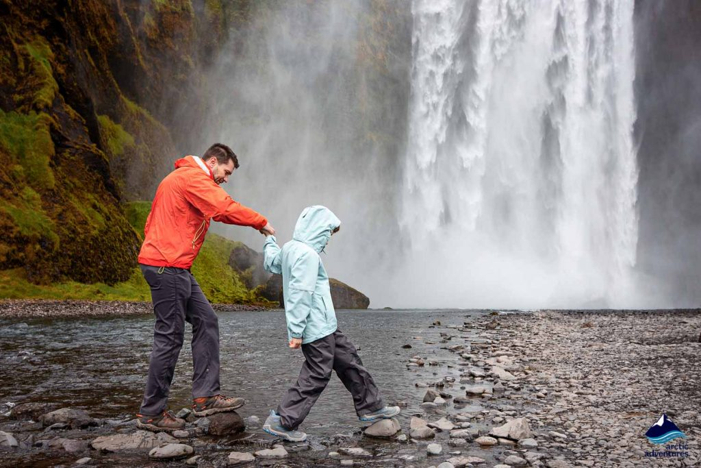 Family trip to Skogafoss Waterfall