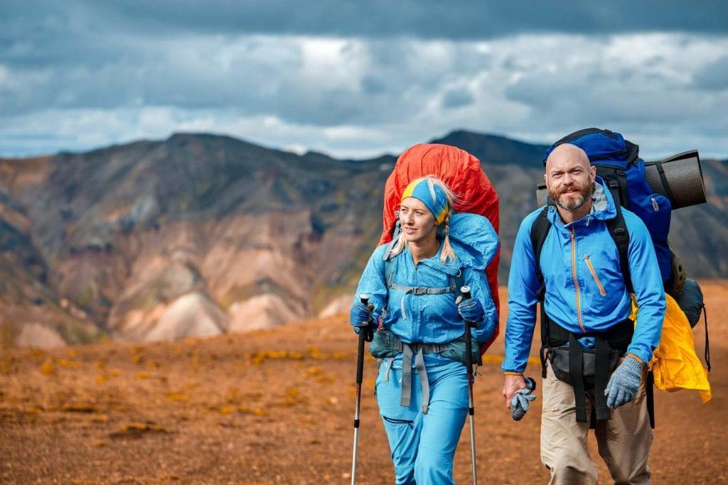 Couple hiking in Landmannalaugar